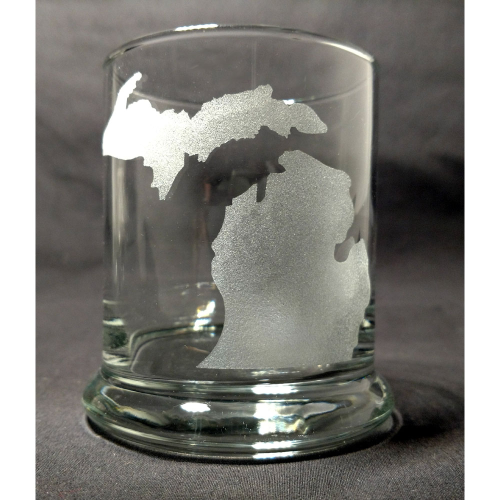 Engraved State of Michigan Rocks Glass Personalize