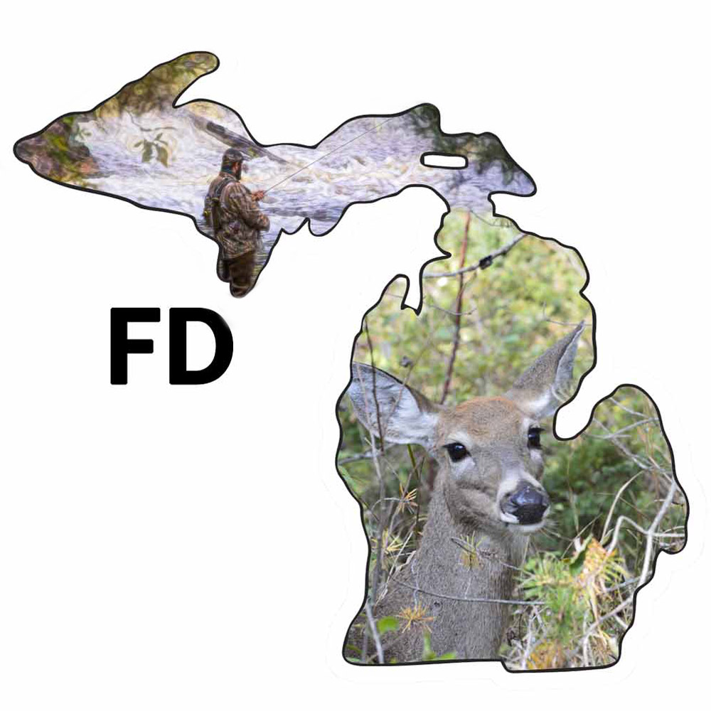 Metal Michigan Shape Ornament Fish and Deer Design