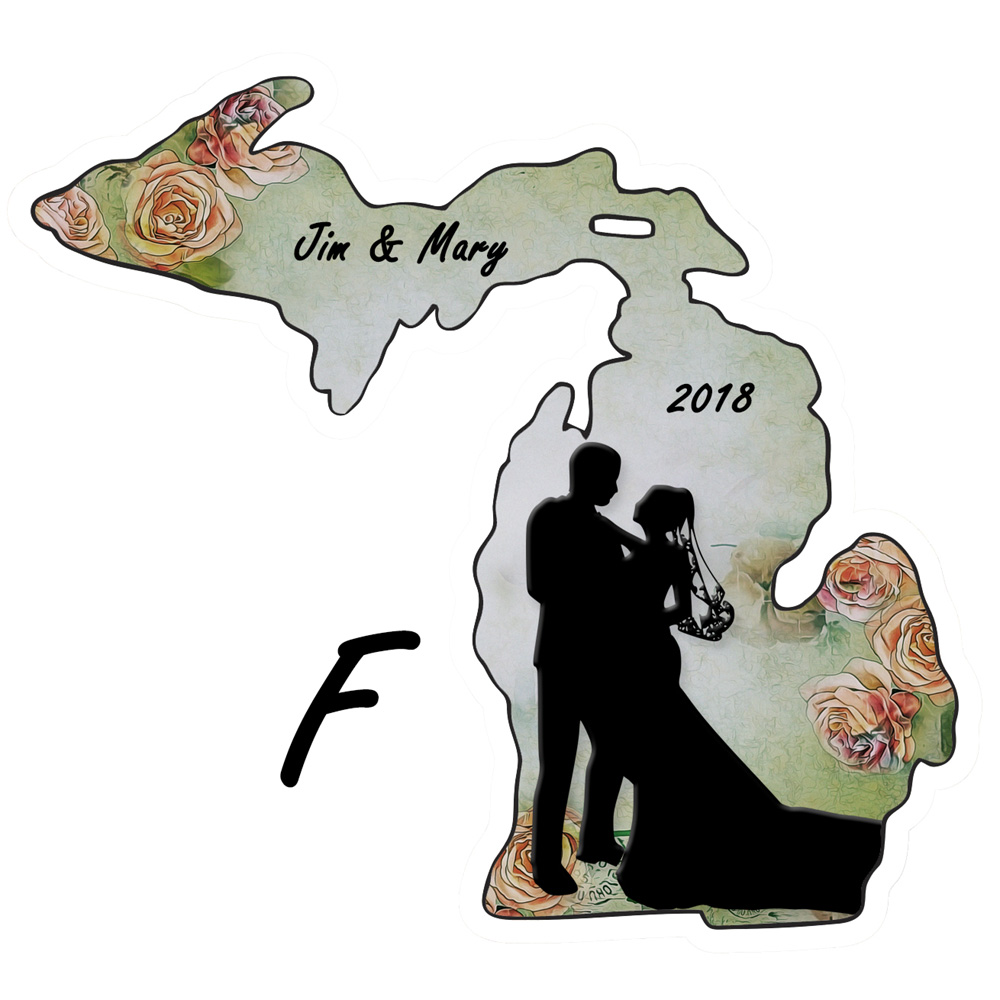 Personalize Michigan Shape Wedding Ornament Rose Background