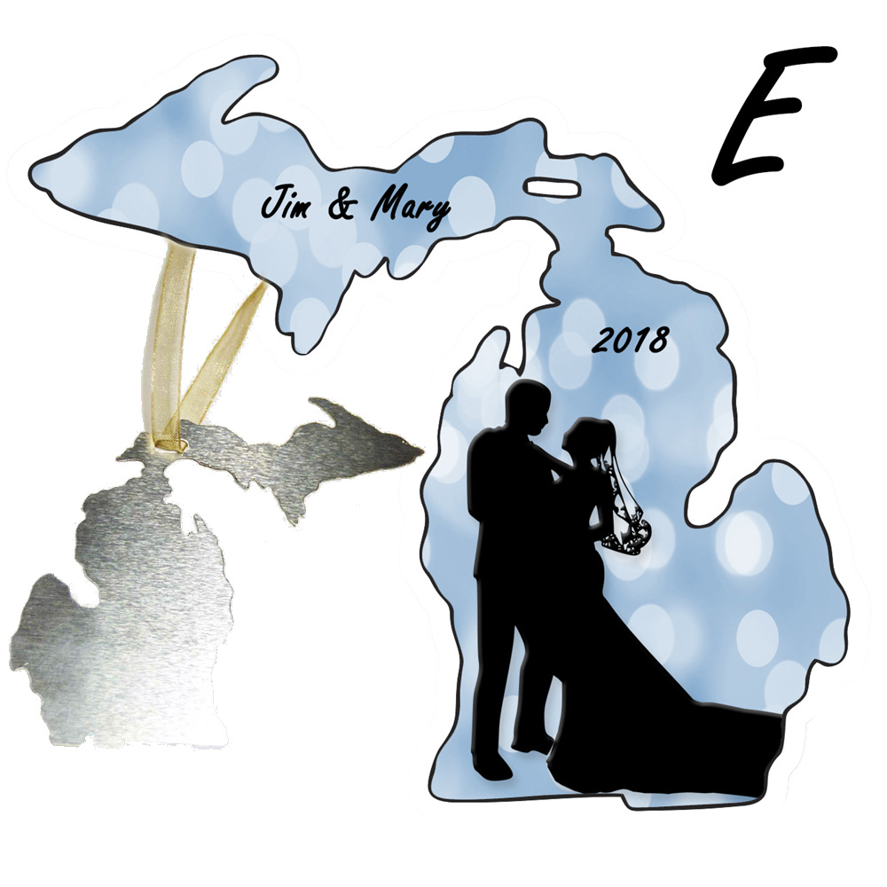 Personalize Michigan Shape Wedding Ornament Blue White Background