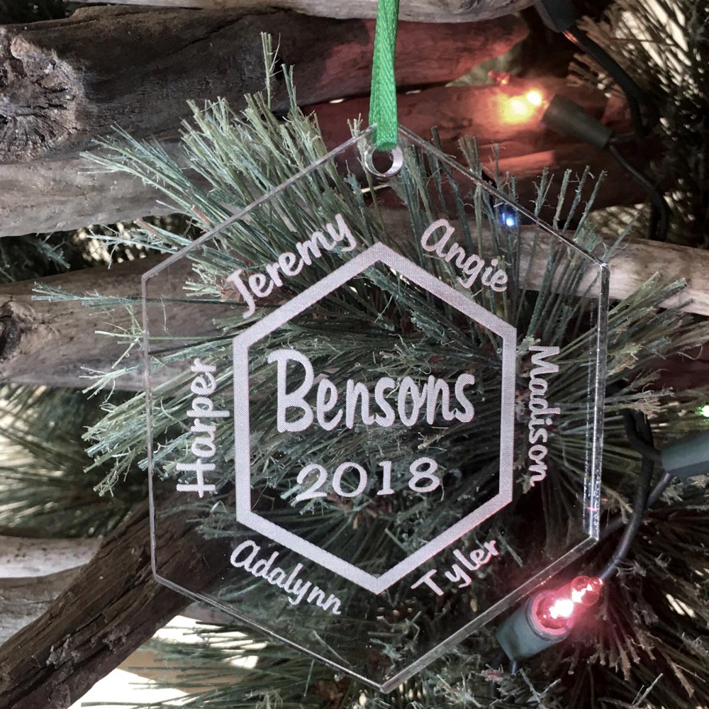 Personalized Family Ornament Custom Engraved 6 Names