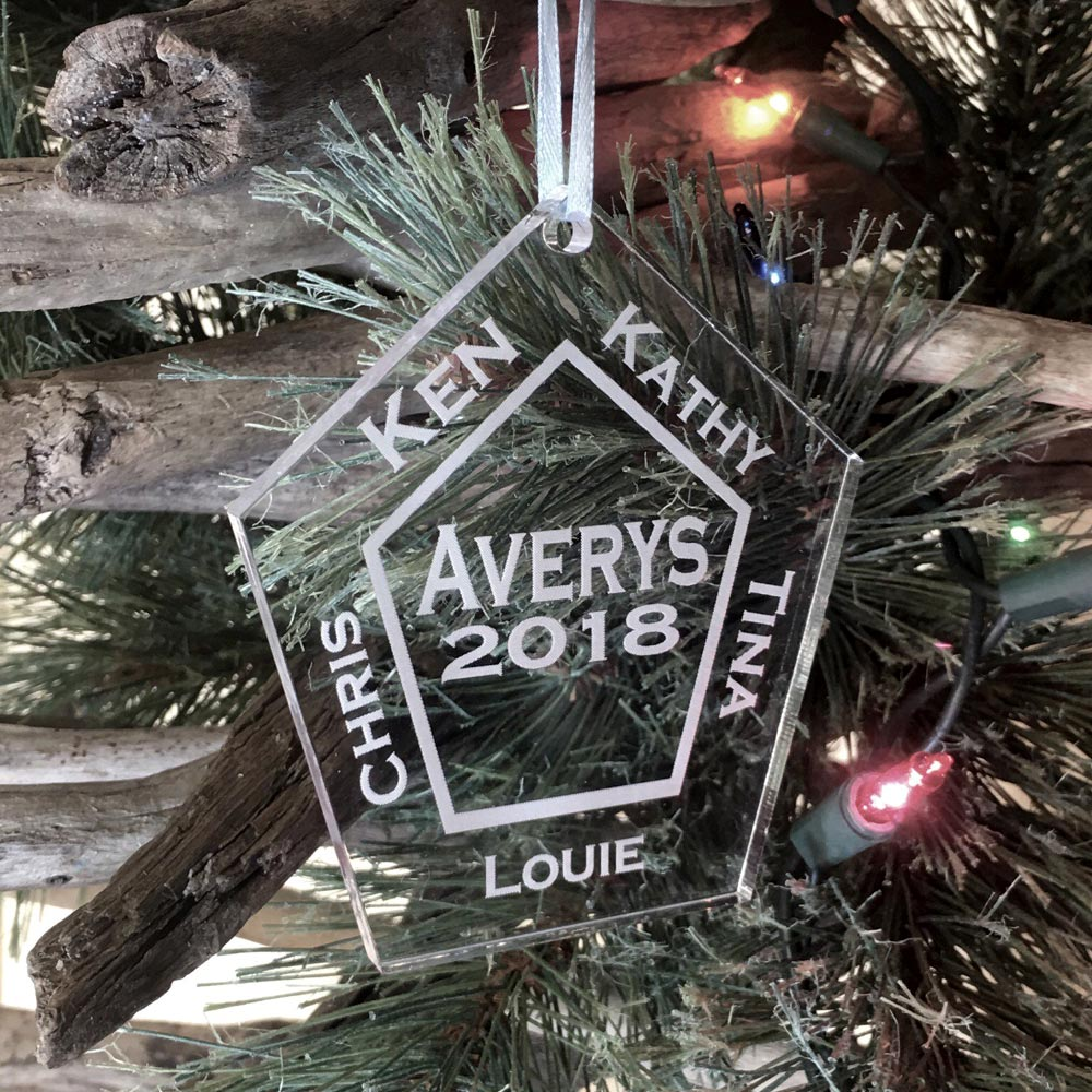 Personalized Family Ornament Custom Engraved 5 Names