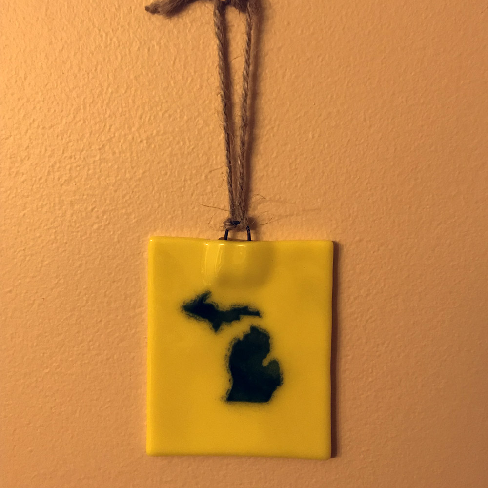 Michigan Ornament Suncatcher Blue Gold