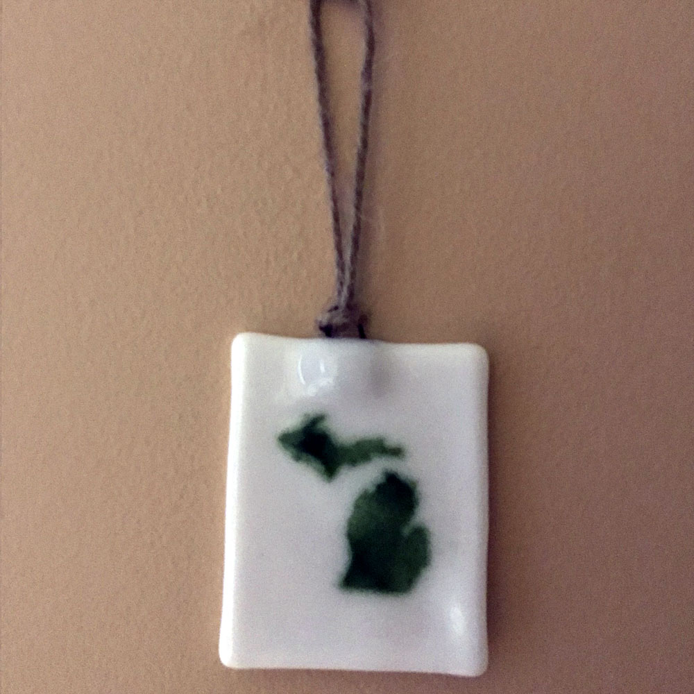 Michigan Ornament Suncatcher Green White