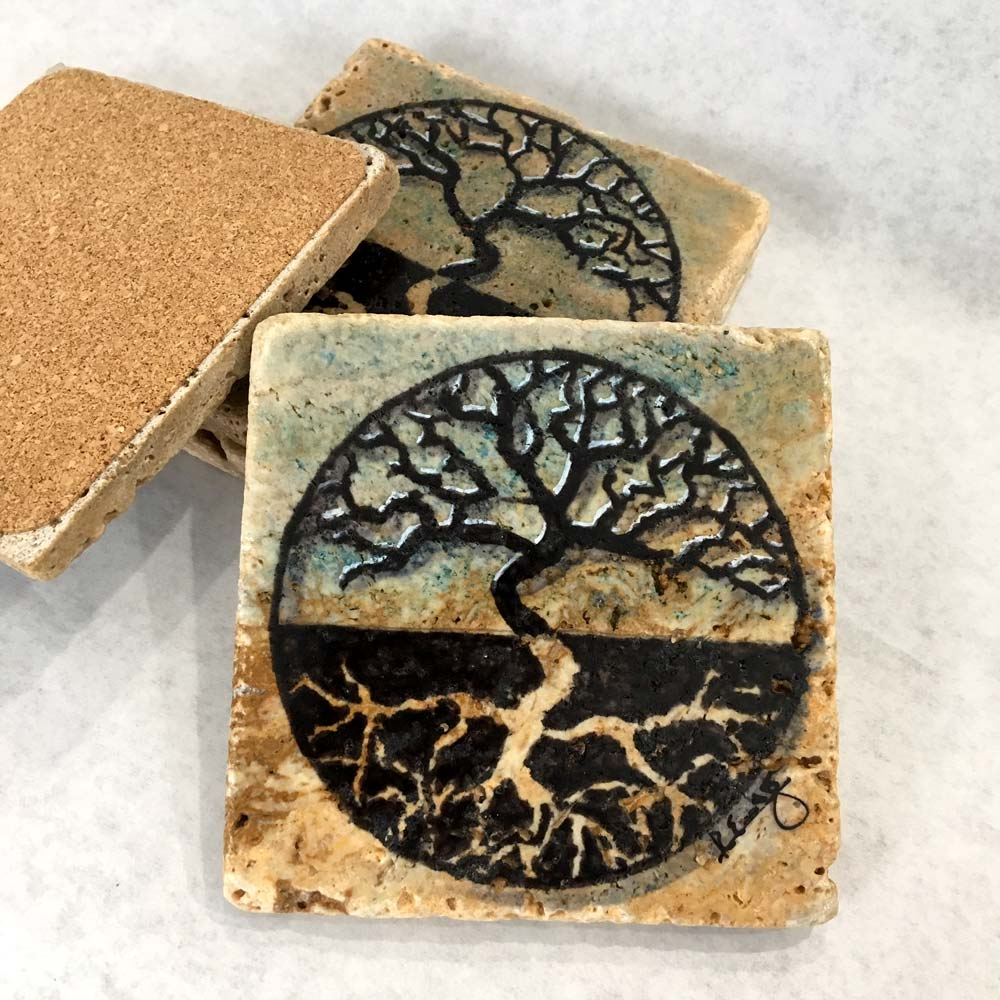 Tree of Life Coasters Hand Painted Travertine Stone