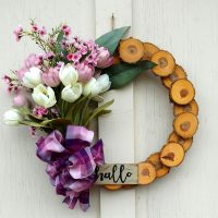 Hallo Lavender Tulips Wreath 15 inch Oak