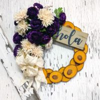 Hola Vintage Purple Wreath 15 inch Oak Slice
