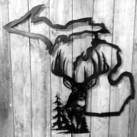 Metal Michigan Buck Wall Art