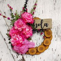 Hola Pink Peonies Wreath 15 inch Maple