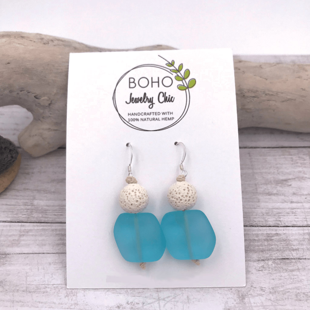 Aromatherapy Diffuser Sea Glass Earrings Blue
