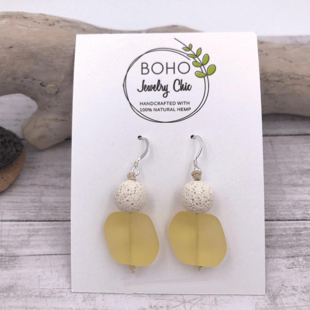 Aromatherapy Diffuser Sea Glass Earrings Yellow