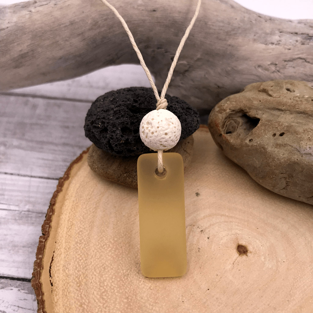 Sea glass Necklace Yellow