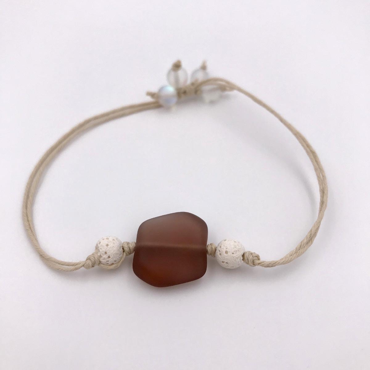 Sea Glass Aromatherapy Bracelet Purple