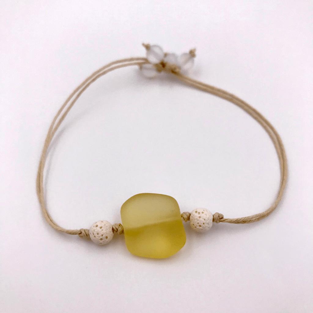 Sea Glass Aromatherapy Bracelet Yellow