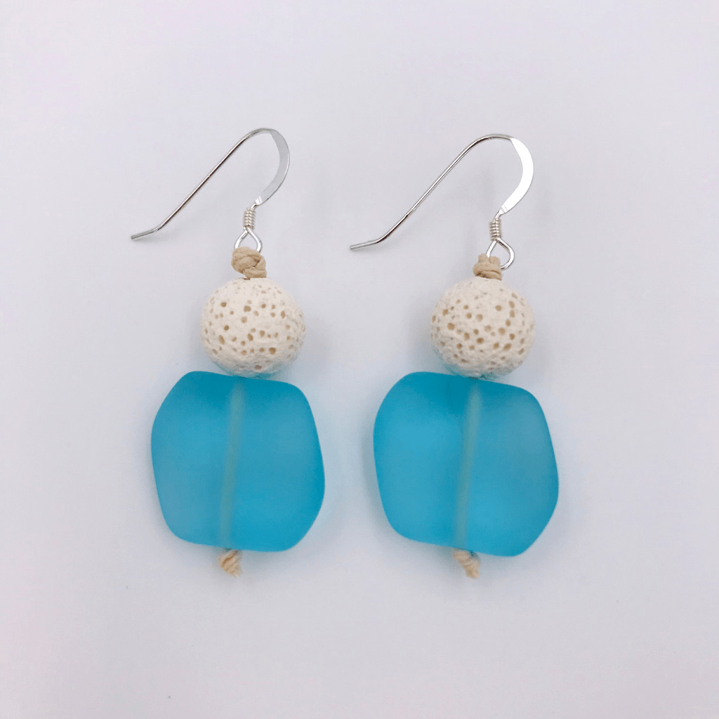 Blue Sea Glass Aromatherapy Earrings